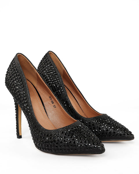 Encrusted Black Stiletto Shoes - Jezzelle
