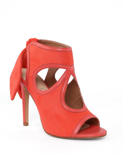 Bow Tie Back Heeled Coral Sandals-Jezzelle