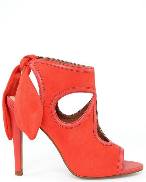 Bow Tie Back Heeled Coral Sandals - Jezzelle