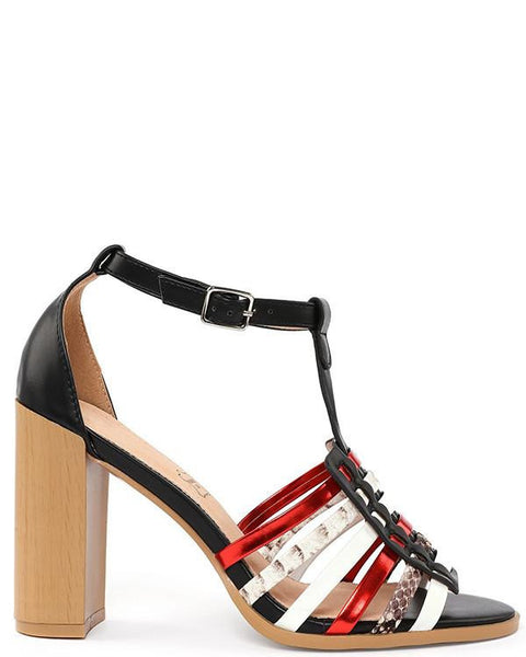 Multicolor Block Heel Sandals - Jezzelle