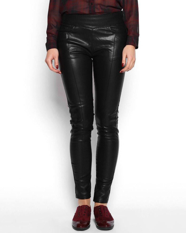 Wide Waistband Faux Leather Skinny Trousers-Jezzelle