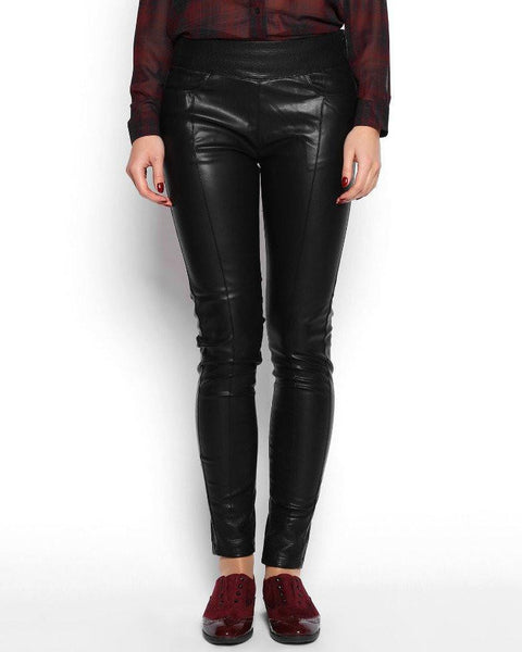 Wide Waistband Faux Leather Skinny Trousers - Jezzelle