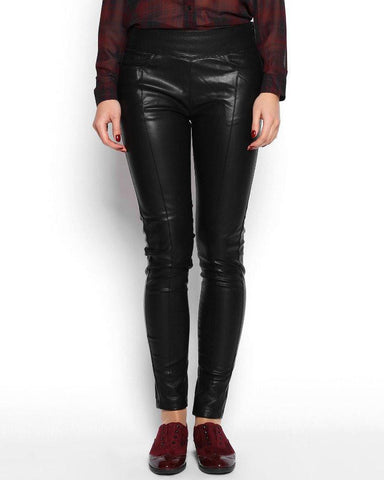 Wide Waistband Faux Leather Skinny Trousers