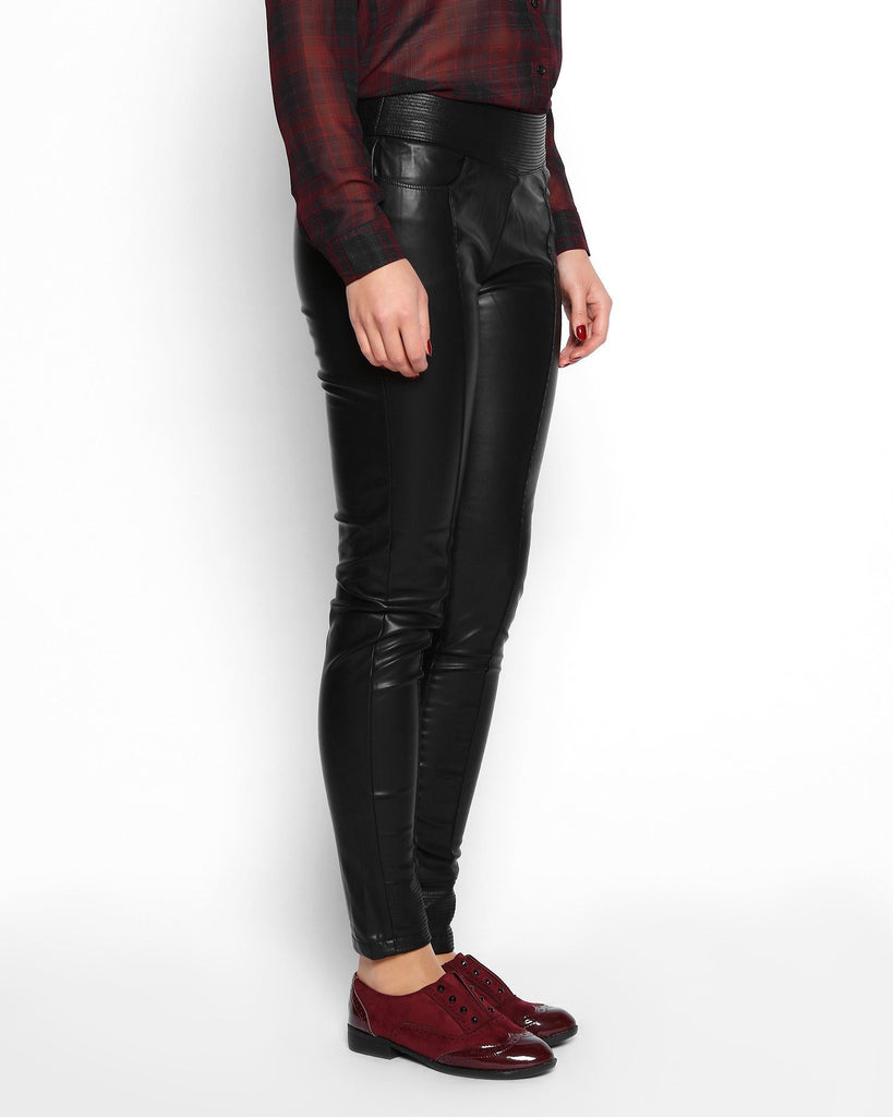 Wide Waistband Faux Leather Skinny Trousers - jezzelle  - 2