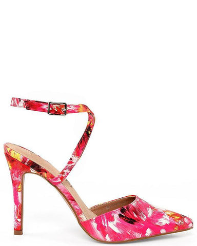Flower Print Cross Ankle Strap Shoes-Jezzelle