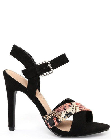 Heeled Black Suede Sandals-Jezzelle