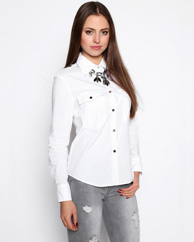 Metal Buttons Black Cotton Shirt-Jezzelle