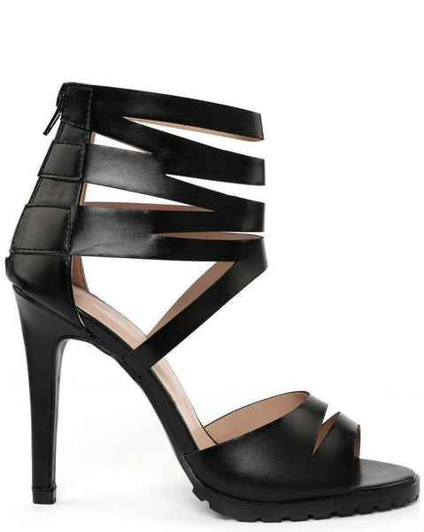 Multi Ankle Strap Black Sandals-Jezzelle