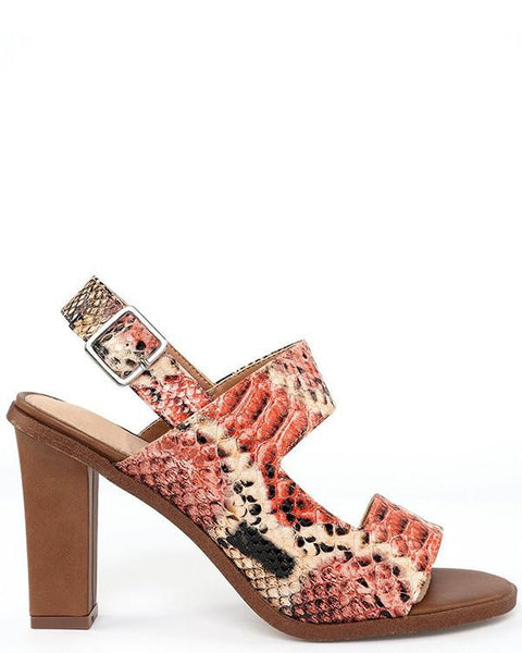 Coral Snakeskin Print d'Orsay Sandals - Jezzelle