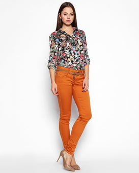 Burnt Orange Skinny Trousers with Belt - Jezzelle