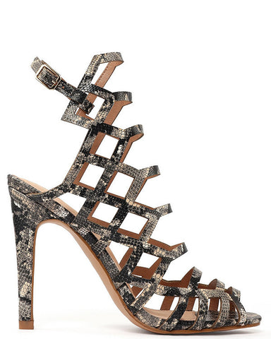 Python Print Cut Out Sandals-Jezzelle