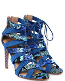 Blue Snake Print Lace Up Sandals - Jezzelle