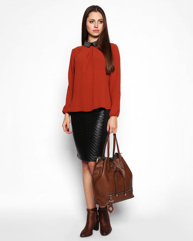 Beaded Collar Loose Fit Red Ocher Blouse