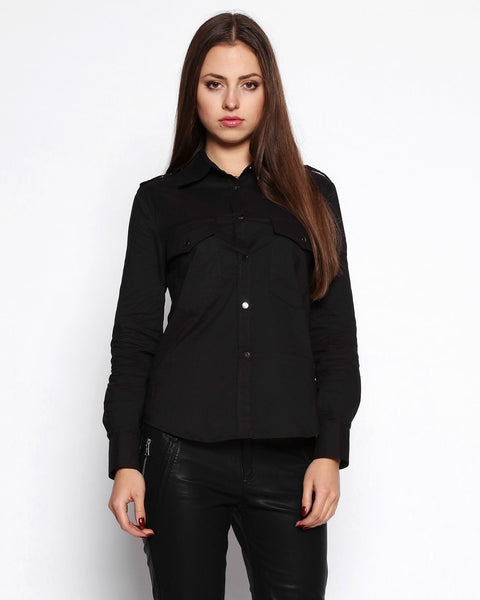 Metal Buttons Black Cotton Shirt - Jezzelle