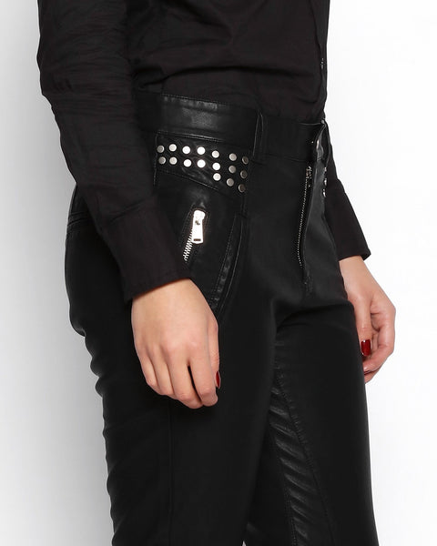 Studded Faux Leather Trousers - jezzelle  - 7