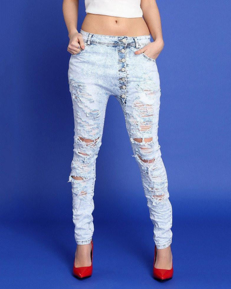 Button Front Distressed Skinny Jeans-Jezzelle