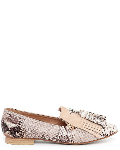 Snake Print Loafer Pumps
