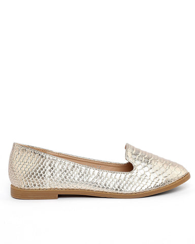 Snake Print Gold Loafer Flats
