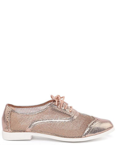 Champagne Mesh Brogue Shoes - Jezzelle
