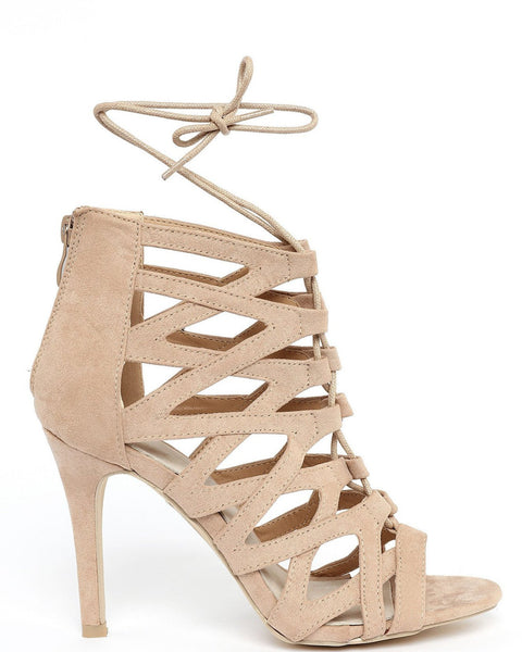 Beige Lace Up Sandals-Jezzelle