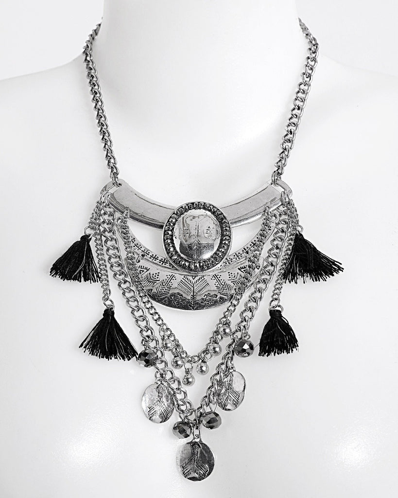 Layered Metal Necklace With Tassels-Jezzelle