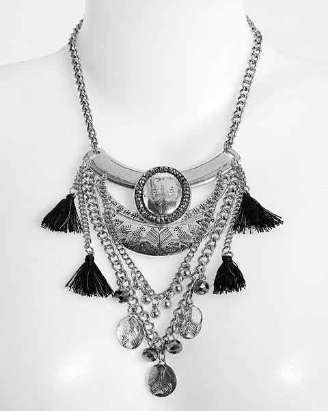 Layered Metal Necklace With Tassels - Jezzelle