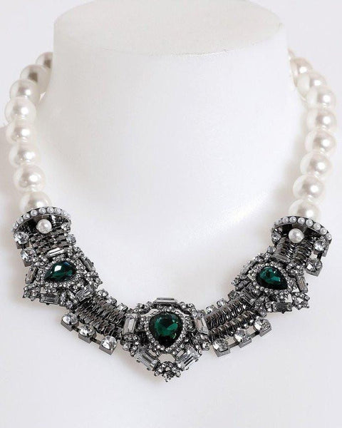 Royal White Pearls Choker Necklace-Jezzelle