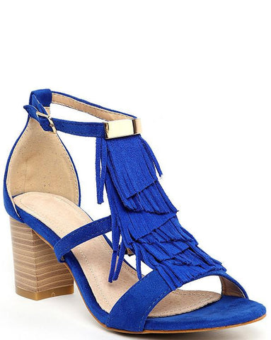 Blue Fringe Sandals - Jezzelle