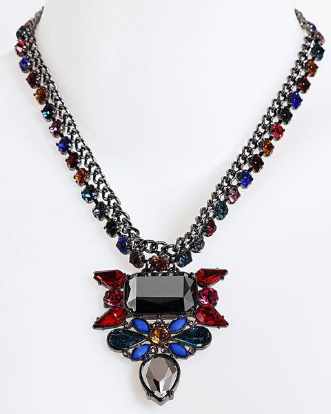 Multicolour Drop Pendant Necklace-Jezzelle