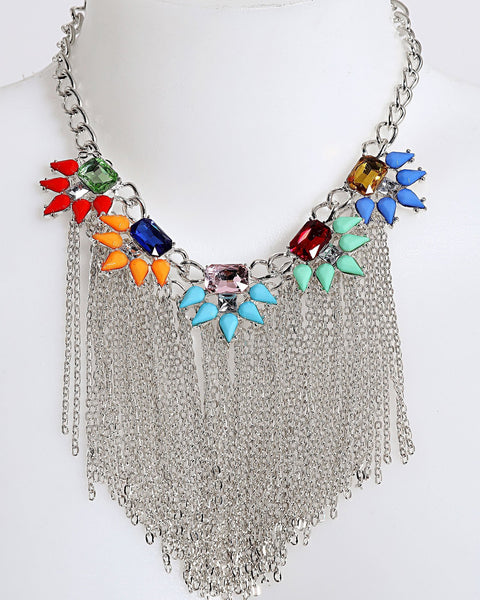 Chain Fringe Multicolor Necklace - Jezzelle