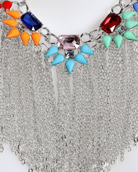 Chain Fringe Multicolor Necklace-Jezzelle