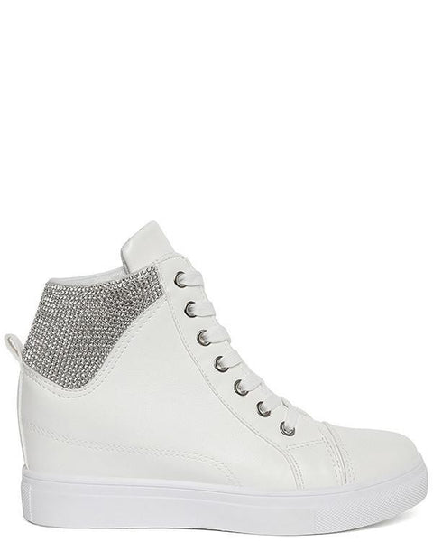 Encrusted White Wedge Trainers-Jezzelle