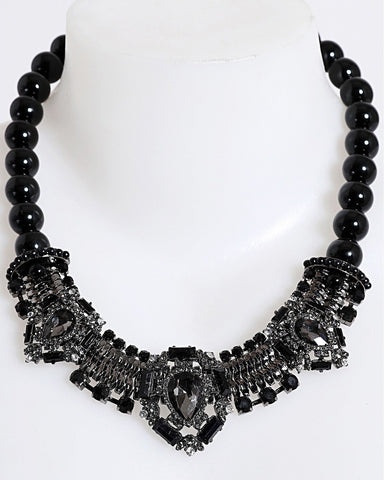 Royal Black Pearls Choker Necklace-Jezzelle