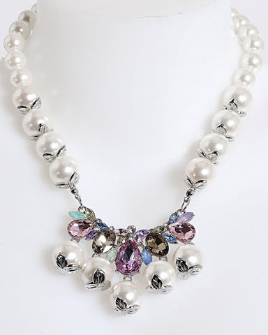 Iridescent Crystals Pearl Necklace - Jezzelle