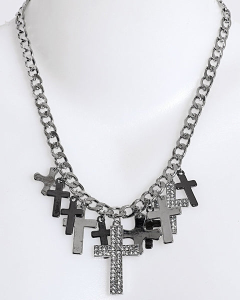 Rock'n'Roll Crosses Necklace-Jezzelle