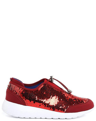Red Sequinned Trainers - Jezzelle