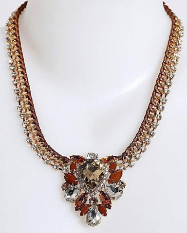 Gold Tone Drop Pendant Necklace-Jezzelle