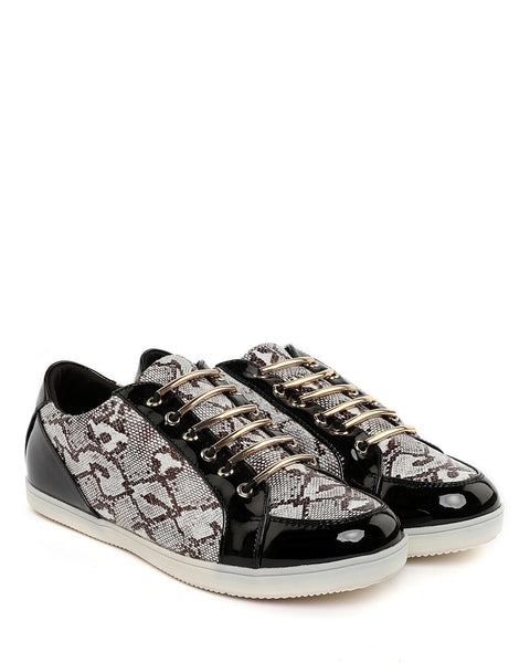 Metallic Bar Python Print Trainers-Jezzelle