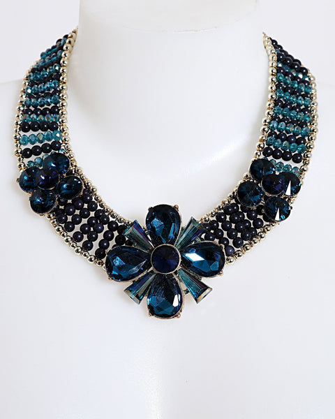 Blue Beaded Collar Necklace - Jezzelle