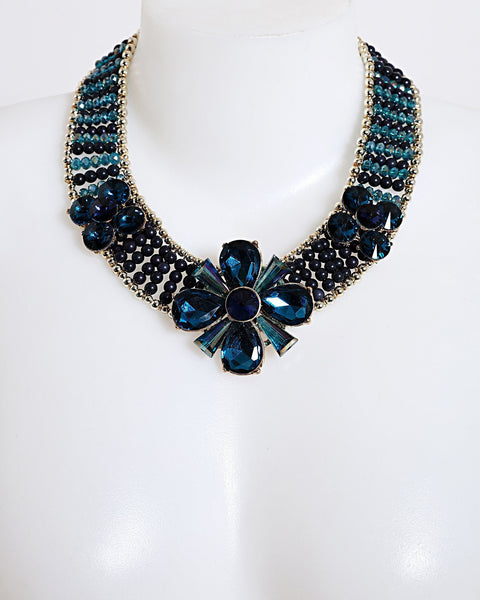 Blue Beaded Collar Necklace-Jezzelle