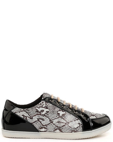 Metallic Bar Python Print Trainers - Jezzelle