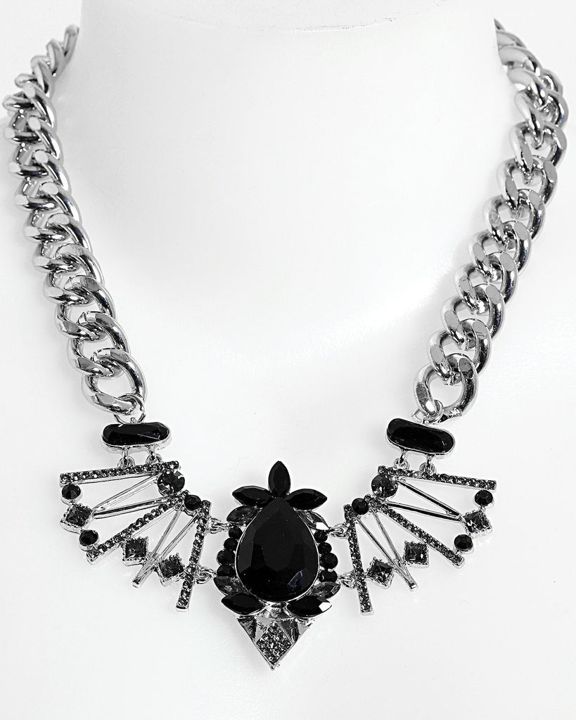 Chunky Chain Encrusted Necklace - jezzelle  - 1