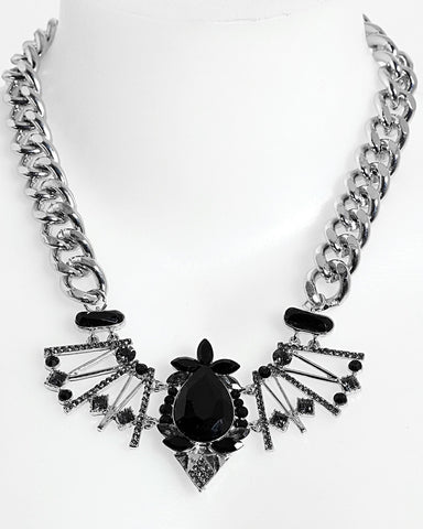 Chunky Chain Encrusted Necklace - Jezzelle