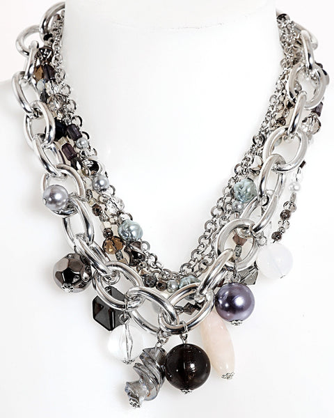Mixed Chains Beaded Necklace - Jezzelle