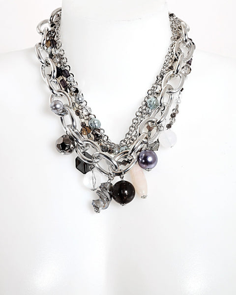 Mixed Chains Beaded Necklace-Jezzelle