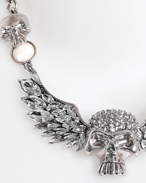 Encrusted Winged Skull Necklace - Jezzelle