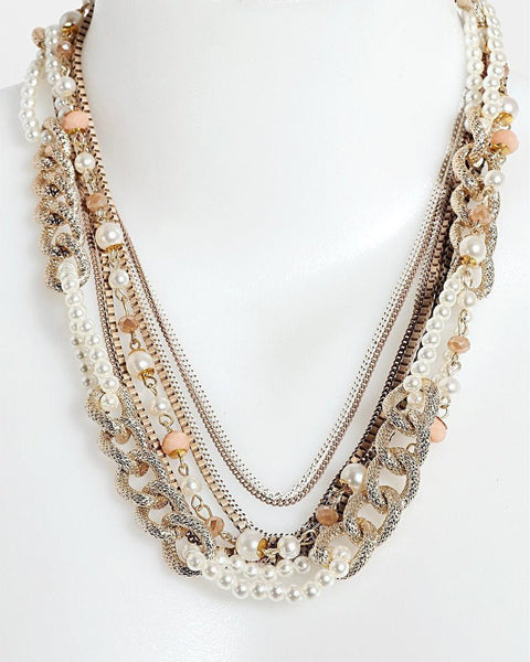 Gold Tone Mixed Chains Necklace-Jezzelle