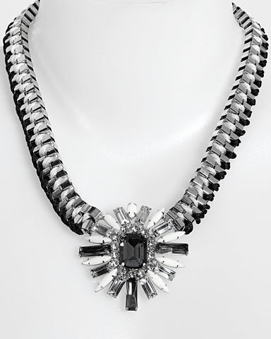 Woven Chain Black and White Necklace-Jezzelle
