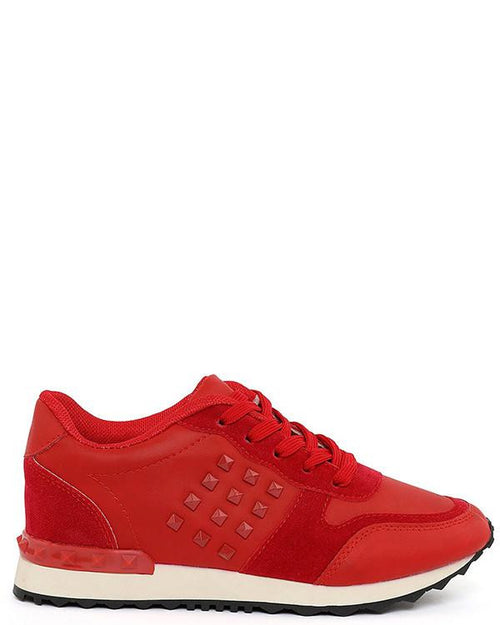 Studded Red Trainers-Jezzelle