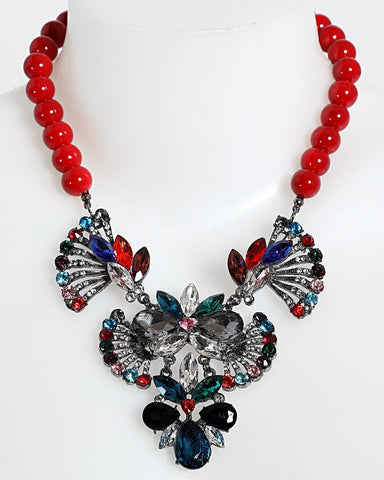 Multicolour Fan Necklace-Jezzelle